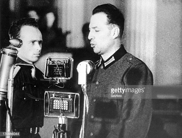 World war 2 december 15 still from a film on the kharkov trial produced by artkino wilhelm langheld pleads guilty langheld spoke in german which was...