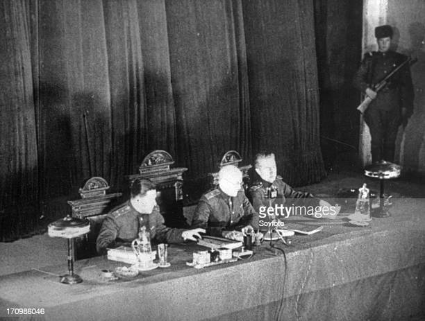 World war 2 december 15 still from a film on the kharkov trial produced by artkino the military tribunal of the fourth ukrainian front in session at...