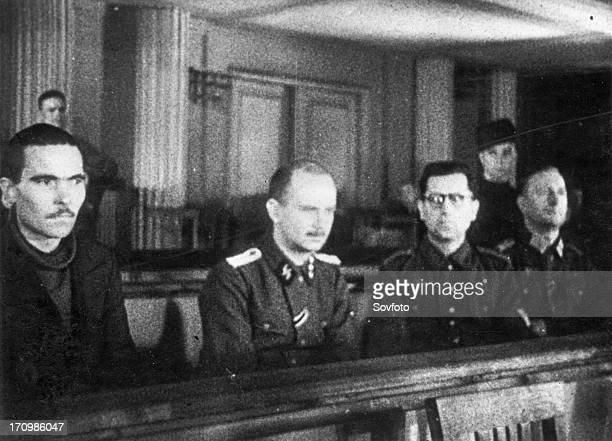 World war 2 december 15 still from a film on the kharkov trial produced by artkino the four defendants at the kharkov trial russian traitor mikhail...