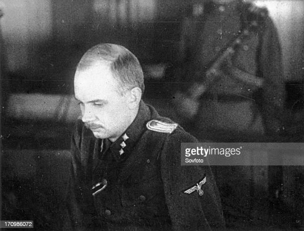 World war 2 december 15 still from a film on the kharkov trial produced by artkino unterzturnfurher ss hans ritz deputy commander of the ss company...