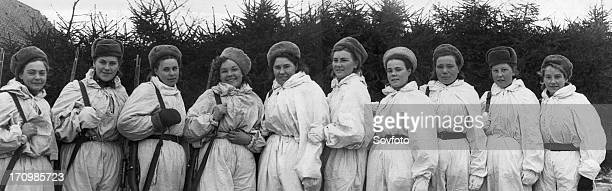 World war 2 decorated women snipers of the third byelorussian front junior sergeant m rozhkova senior sergeant r shanina jr sergeants o mokshina e...