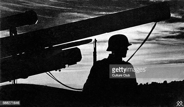 German propaganda postcard Caption Lieb Vaterland magst ruhig sein /Beloved Fatherland you want to be peaceful Showing silhouette of soldier and...