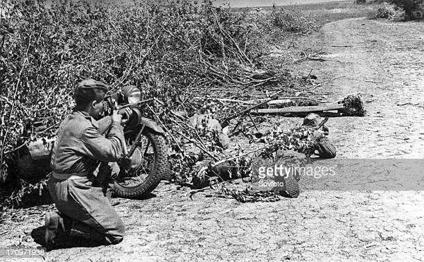 World war 2 june 1943 an antitank rifle crew of the 3rd special motorcycle regiment of the guards in ambush on a road ukraine