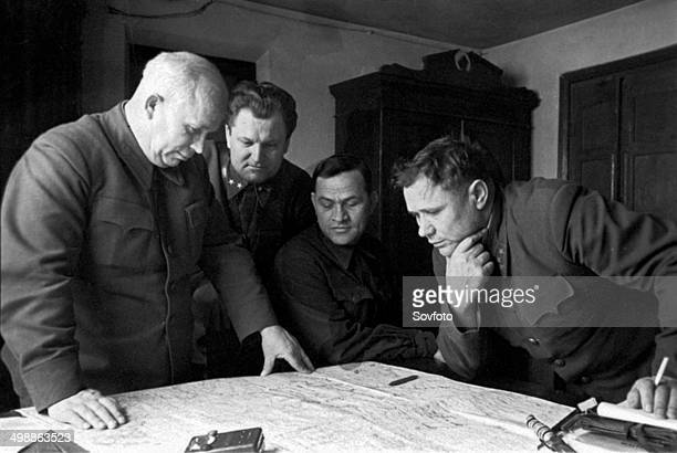 World War 2. Nikita Khrushchev at Stalingrad. 1942 or 1943.
