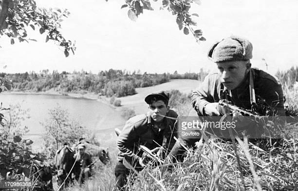 World war 2, russian partisan scouts in the leningrad region.