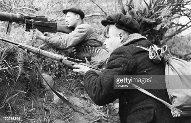 World war 2, russian partisans in the leningrad region.