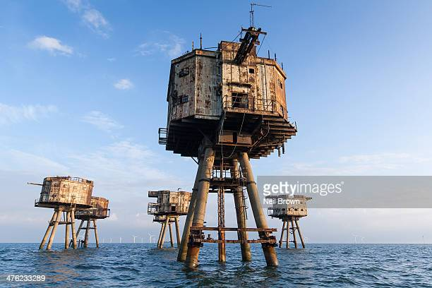 World War 2 sea forts - Shivering Sands off the North Kent coast near Herne Bay/Whitstable UK. Anti aircraft gun, abandoned, decay.