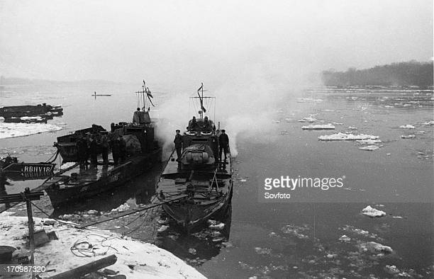 World war 2 soviet armored cutters 'stalinets' and 'hero of the soviet union golubets' of the soviet danube military flotilla moored at the hungarian...
