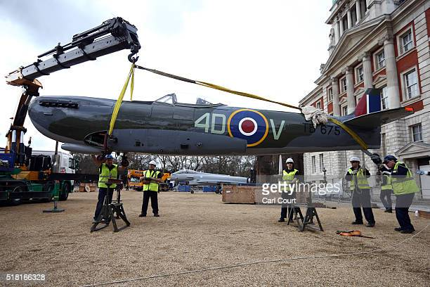 World War 2 Spitfire Mk XVI is unloaded from a truck at Horse Guards Parade on March 30 2016 in London England The RAF Museum will display aircraft...