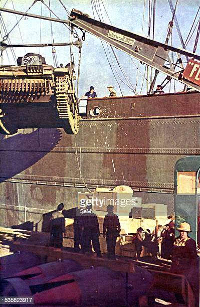 World War 2 The Desert War 19401943 Afrika Korps tanks and material in a north african Axis's port The Western Desert Campaign or the Desert War took...