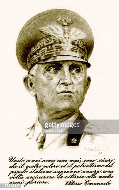 Victor Emmanuel III of Italy Patriotic Italian postcard Portrait with caption ' Kingdom as you have never before been I am sure that your valour and...