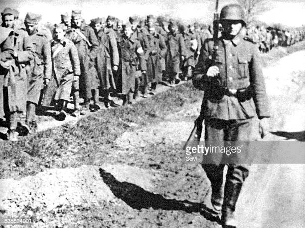 World War 2 Yugoslavian soldiers surrender after heavy fighting with German Wehrmacht, April 1941, Signal magazine. The invasion of Yugoslavia, also...