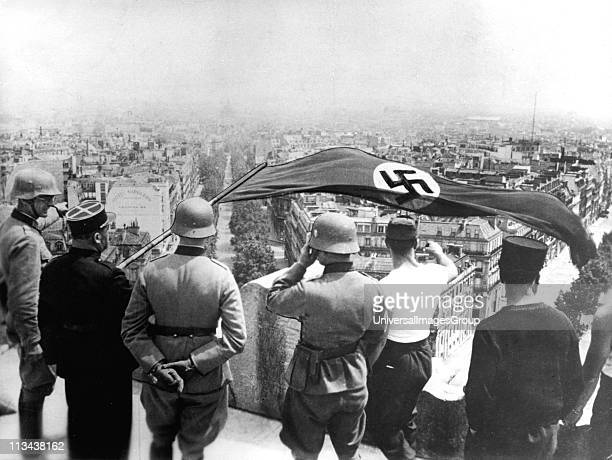 World War 2German occupation of Paris June 1940 The German flag flying from the Arc de Triomphe