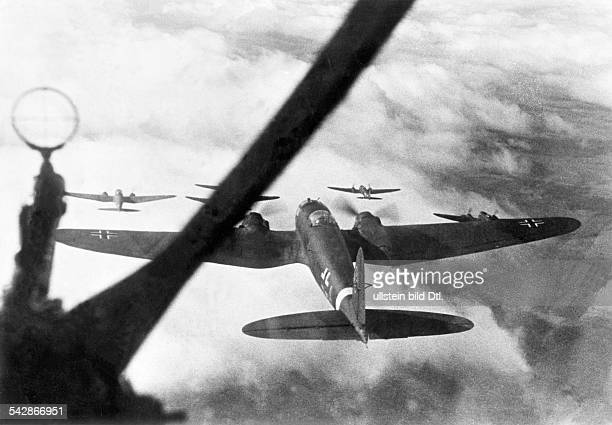 2 World War campaign againt soviet union eastern front theater of war german air force A squadron of Heinkel He111 bombers on mission against enemy...