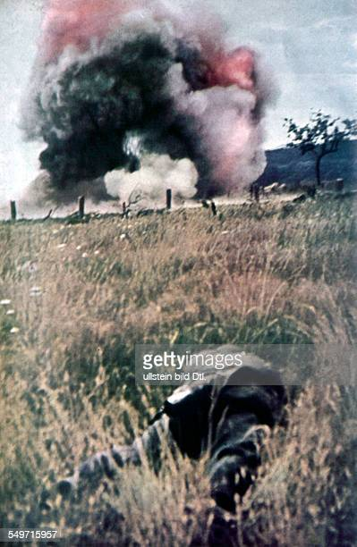 2 World War campaign in the west 1940 Heavy shellng at a bunker of the Maginot line May 1940 Foto Arthur Grimm