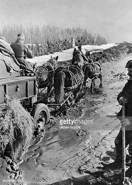 World War - Eastern Front, Soviet Union: German troops striving with horsecarts on a muddy roadPhotograph: war correspondant Rynas - - Photographer:...