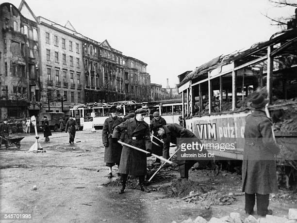2 World War Germany duringBerlin Perparations for the 'Battle of Berlin' Volkssturm members building tank barries at the Kaiserdamm March/April...