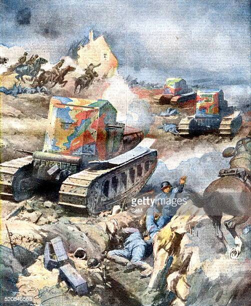 World War I 1914 1918Western Front France 1918 The victorious advance French and English on the front of Amiens Cavalry and light tanks sweep the...