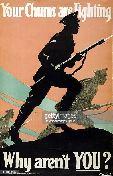 World War I 19141918 British Army recruitment poster 1917 'Your Chums are Fighting Why aren't You' Silhouette of soldiers bayonets drawn advancing...