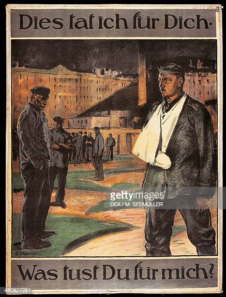 World War I 20th century Germany Dies tat ich fur Dich Was tust Du fur mich Propaganda poster by W Hammer 1918 Paris Musée D'Histoire Contemporaine...