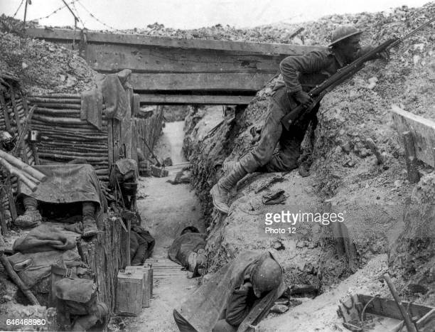 22nd British Regiment in a German trench recaptured at the Battle of the Somme in Ovillers October 1916