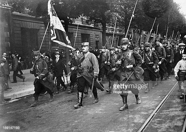 World War I A regiment departing for the front Paris August 1914