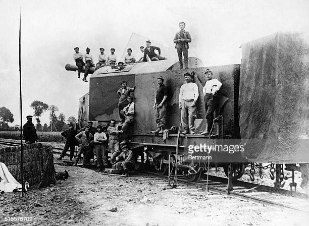 World War I advance on the Somme French Marines shown with railroad gun used to kill the Huns on the Western Front Photograph