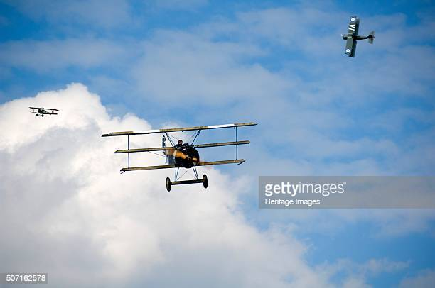 World War I aerial warfare re-enactment, Festival of History, Kelmarsh Hall, Northamptonshire, 2007. First World War aeroplanes in flight. Artist:...