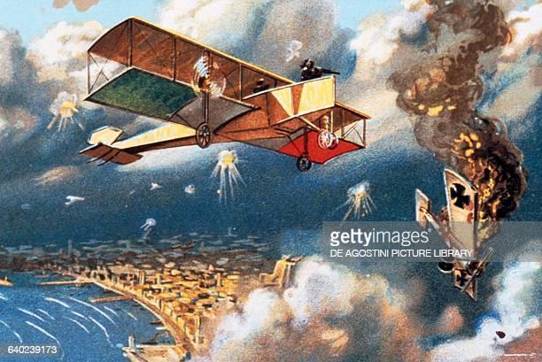 World War I air battle depicting an Italian aircraft bombing an Austrian one, drawing, Italy, 20th century.