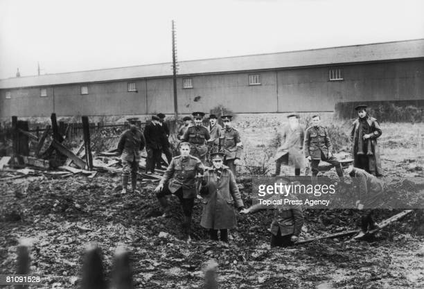 World War I air raid near the railway station at King's Lynn in Norfolk, January 1915. The attack made the town the first in Britain to be bombed by...