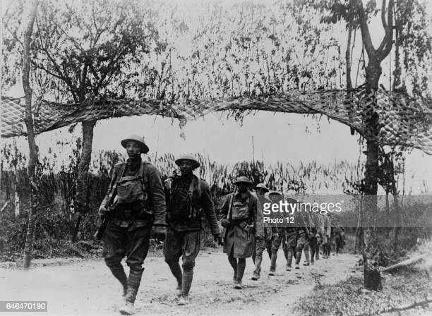 American infantry troops marching northwest of Verdun France