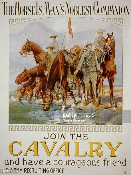 World War I American poster showing six cavalrymen watering their horses Original title The horse is man's noblest companion join the cavalry and...