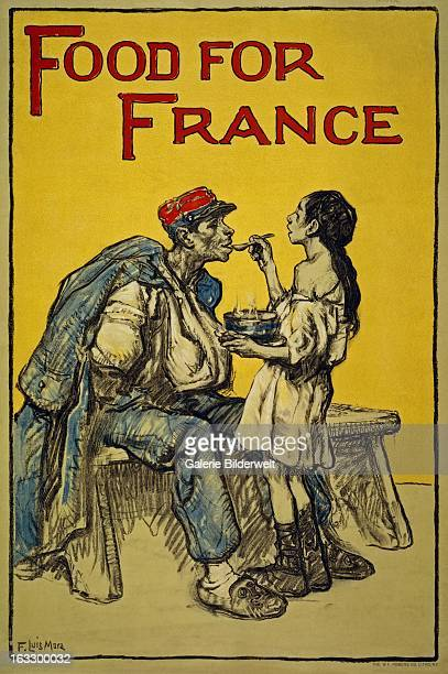World War I American propaganda poster showing a girl feeding soup to a wounded soldier Original title Food for France Artist Francis Luis Mora...
