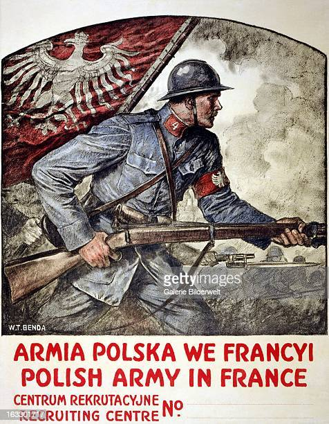 World War I American propaganda poster showing a Polish soldier brandishing a rifle and the Polish flag Original title Polish Army in France Artist...