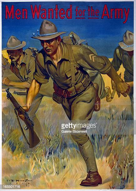 World War I American recruitment poster showing soldiers with guns running in a field Original title Men wanted for the Army Stamped Local Board for...