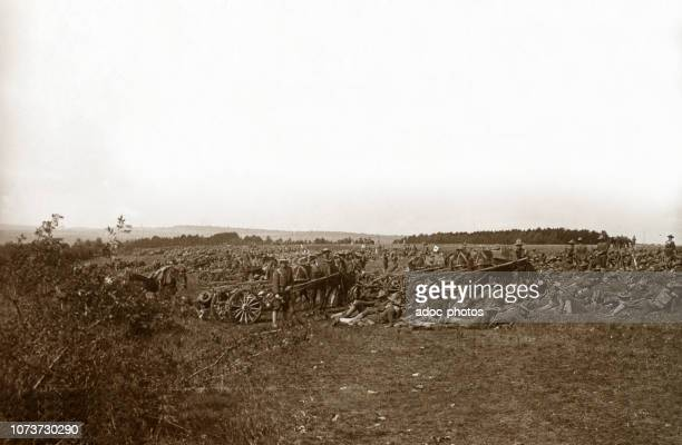 World War I, American soldiers resting in the sector of Gondrecourt-le-Château . Ca. 1918.