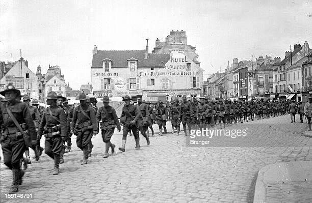 World War I American troops headed to the front Meaux France July 1918