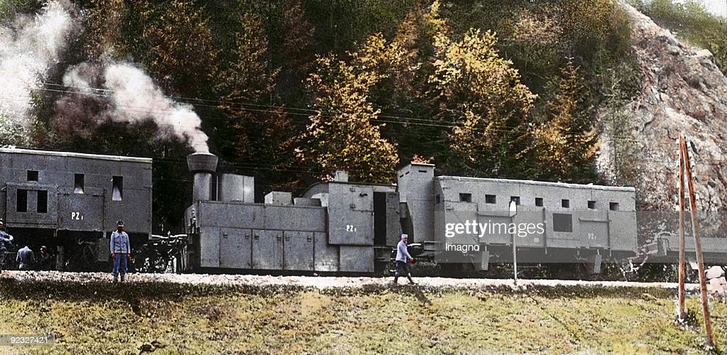 World War I: An austrian Armoured train in Russia. Hand-colored lantern slide. Around 1915 : News Photo