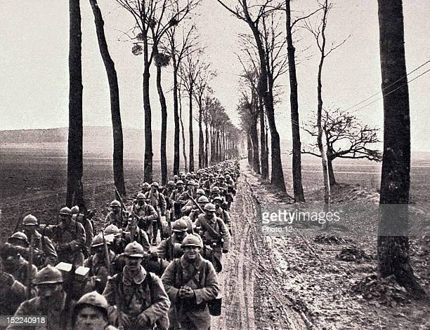 World War I An infantry regiment about to move into position in the French lines between Amiens and Montdidier
