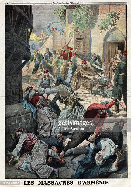 World War I Armenian Genocide Destruction of the Armenian population by Ottoman Turks Illustration from French newspaper Le Petit Journal December 12...