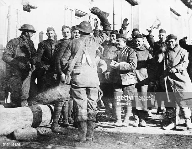 World War I Armistice Scene at the front with the 27th Division hearing the news