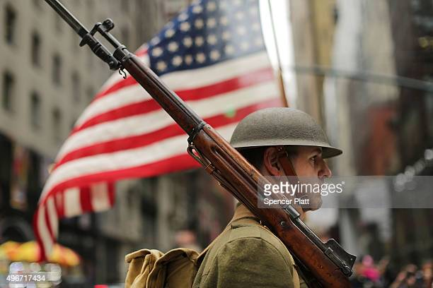 World War I army reinactor marches in the nation's largest Veterans Day Parade in New York City on November 11 2015 in New York City Known as...