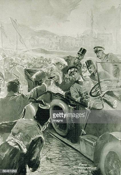 World War I Assassination of heir apparent archduke Franz Ferdinand of Austria and his wife in Sarajevo on the 28th of June 1914 News paper xylograph...