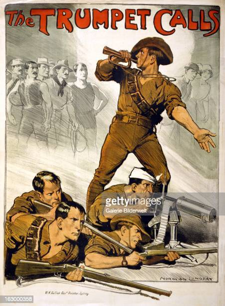 World War I, Australian propaganda poster showing an Australian soldier blowing a trumpet with other soldiers, in a fox hole with guns, are at his...