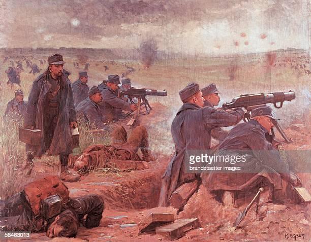 World War I.: Austrian infantry in a gunfight at the east front. Painting, about 1914. [Erster Weltkrieg: oesterr. Infantrie in einem Feuergefecht an...