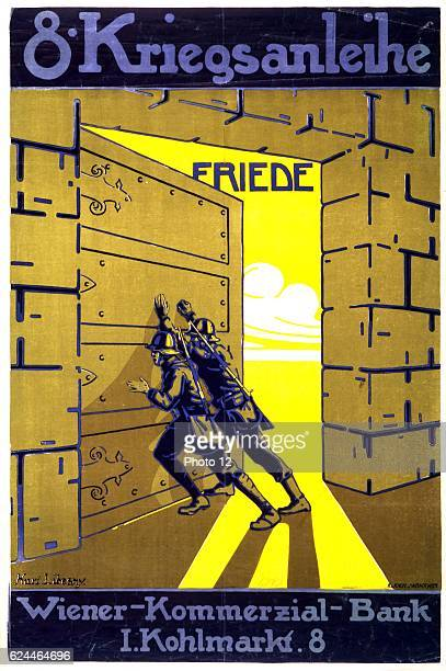 Austrian poster by Karl Libesny issued by the Vienna Commercial Bank for the 8th War Loan. Two soldiers push open a bank's strong room door to reveal...