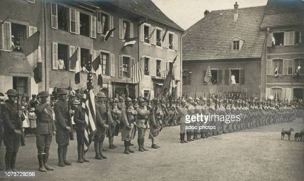 Bastille Day French and American regiments during the celebrations of Bastille Day in Masevaux On July 14 1918
