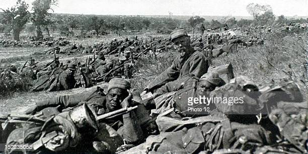 1915 World War I Battle of June 4 in the Dardanelles Senegalese soldiers in approach formation by echelons in the shelter of a fold in the land