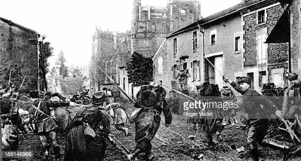 World War I Battle of the Marne Charging with bayonets in the streets of Rembercourt