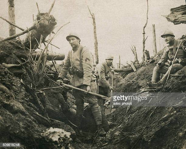 World War I Battle of Verdun French soldiers in a trench in the Bois d'Avocourt In March 1916